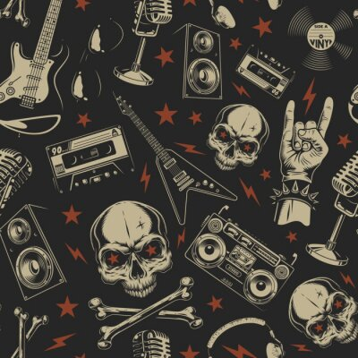 Tapeta Grunge bezszwowy wzór z czaszkami