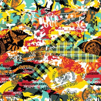 Tapeta Grunge kamuflażu patchwork z militarnych odznak wektorowym bezszwowym wzorem