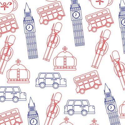 Tapeta guard big ben double decker bus crown londyn wielka brytania wzór obrazu wektorowe illustrationd projektowe niebiesko-czerwonej linii