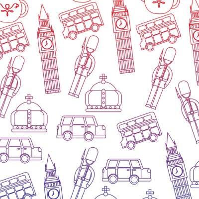 Tapeta guard big ben double decker bus crown londyn wielka królestwo wzór obrazu wektorowe ilustracja projektowe czerwonym niebiesko ombre linia