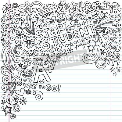 Gwiazda rysowane ręcznie Bazgroły Atramentowy Student Powrót do Notebook Doodles- Szkoła Doodle elementy projektu na podszyciem Sketchbook papieru Ilustracja