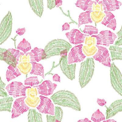 Tapeta Haft kwiatowy wzorek bez szwu