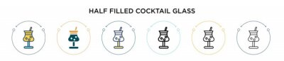 Tapeta Half filled cocktail glass icon in filled, thin line, outline and stroke style. Vector illustration of two colored and black half filled cocktail glass vector icons designs can be used for mobile, ui,