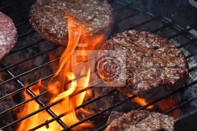 Tapeta hamburgery mięsa do hamburgerów z grilla na grilla płomienia