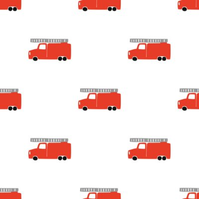 Tapeta Hand Draw A Fire Truck Seamless Pattern. Vector Boyish Background in Scandinavian Style. Red fire Cute Cars Isolated on White Background. Print for Children's t-Shirt, Textile, packaging, cover