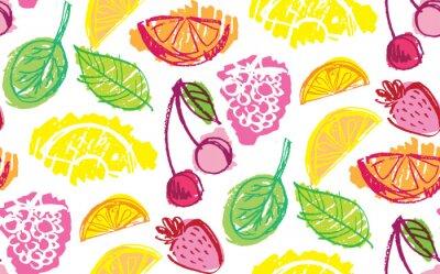 Tapeta Hand drawn doodle fruit pattern background