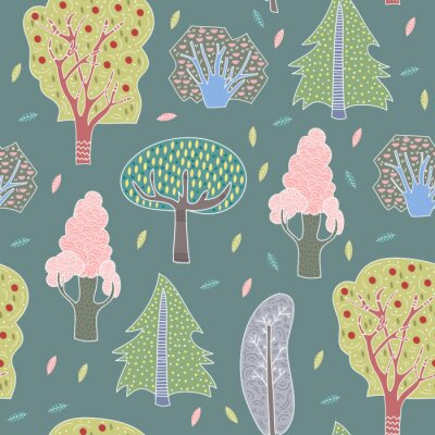 Tapeta Hand drawn doodle trees. Graphic vector seamless pattern. Dark background