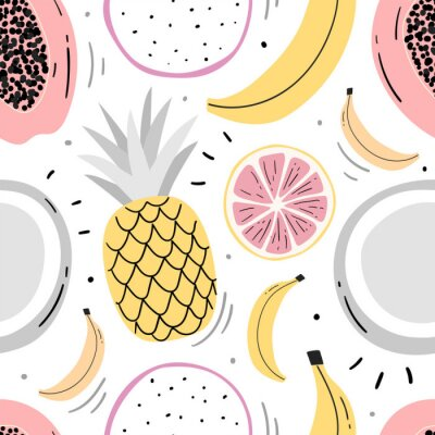 Tapeta Hand drawn fruits seamless pattern for print, textile, wallpaper. Kids decorative fruits background.