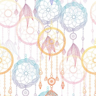 Tapeta Hand drawn illustration with indian dreamcatchers and feathers. Seamless pattern. Vector illustration. Ethnic design, boho chic, tribal symbol. Good fabric, textile, wallpaper