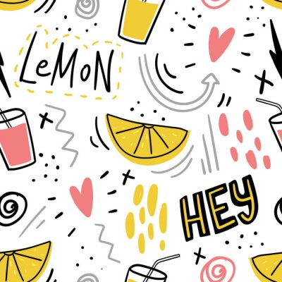 Tapeta Hand drawn kids seamless pattern with lemon and juice and hand drawn lettering words hey for print, textile, kids clothes.