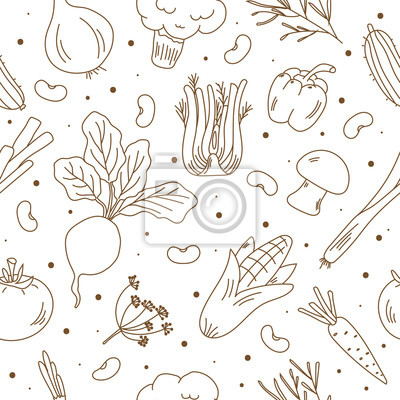 Tapeta Hand drawn seamless pattern organic food. Sketch style vector set. Vegetables  isolated on white background.