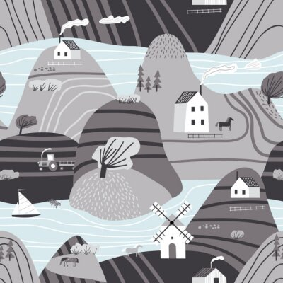 Tapeta Hand drawn vector abstract scandinavian graphic illustration seamless pattern with house,trees and mountains. Nordic nature landscape concept. Perfect for kids fabric, textile, nursery wallpaper.