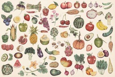 Tapeta Hand drawn vegetables and fruits patterned background illustration