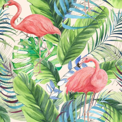 Tapeta Hand drawn watercolor seamless pattern with pink flamingo, banana leaves and exotic plants. Repeat background illustration