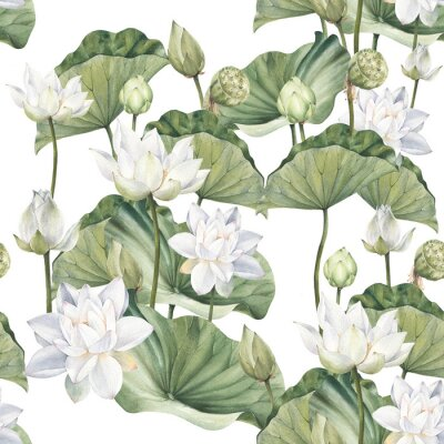 Tapeta Hand drawn watercolor seamless pattern with white lotus flowers and lotus leaf
