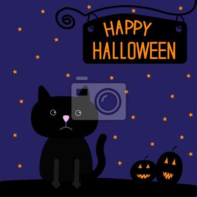 Tapeta Happy Halloween Czarny Kot I Karta Dynie Czarny Gwiazda