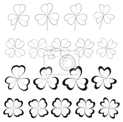 Tapeta Happy holiday - Clovers with 3 and 4 leaves