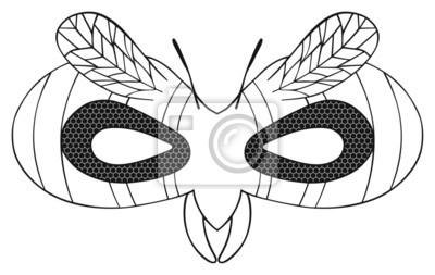 Tapeta Happy holiday - Maska pasiastej osa z czarnymi oczami