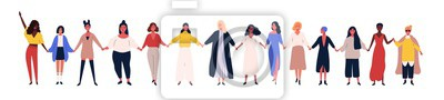 Tapeta Happy women or girls standing together and holding hands. Group of female friends, union of feminists, sisterhood. Flat cartoon characters isolated on white background. Colorful vector illustration.