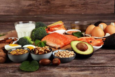 Tapeta healthy eating and diet concept - natural rich in protein food on table