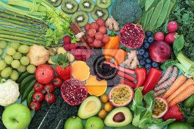 Tapeta Healthy heart food concept with fruit, vegetables, herbs and spices. Health foods high in fibre, antioxidants, anthocyanins, vitamins, omega 3 and protein to support the cardiovascular system. Low gi.
