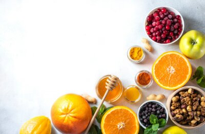 Tapeta Healthy products for Immunity boosting. Revention and treatment of colds with vitamin C. Veggie or vegan food.