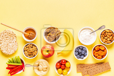 Tapeta Healthy snack concept, top view.