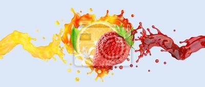 Tapeta Healthy srawberry and orange fruit juices liquid swirls splashes. Fruits juice splashing together - orange, strawberry juice in two wave swirls form. Liquid drink design element. 3D