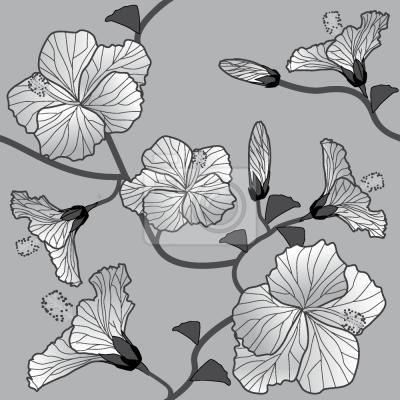 Tapeta hibiskus Monochrome