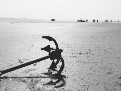 High Angle View Of Anchor On Sand At Beach