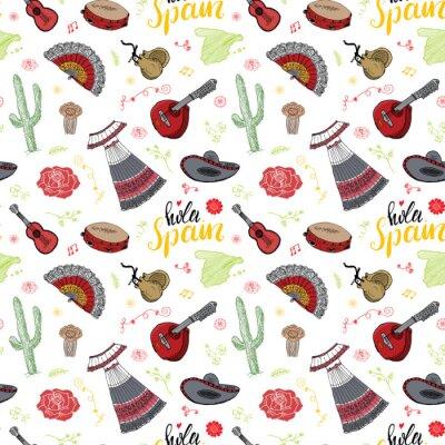 Tapeta Hiszpania szwu doodle elementy, ręcznie rysowane szkic tradycyjne hiszpańskie gitary, stroje i instrumenty muzyczne, mapa Hiszpanii i liternictwo - hola Hiszpanii. ilustracji wektorowych tle