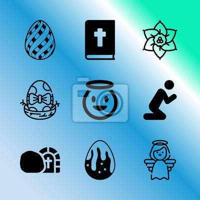 Ikona wektor zestaw o wielkanoc z 9 ikon związanych z romansu, topnienia, zbliżenie, pyszne, paski, baner, edukacja, antyczne, pisanki i wschód