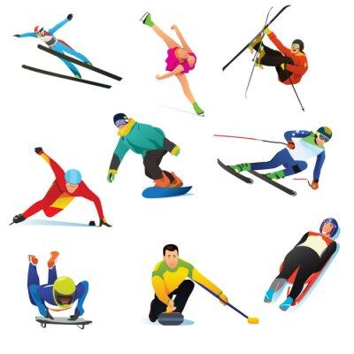 Tapeta Ikony Sporty zimowe clipartów