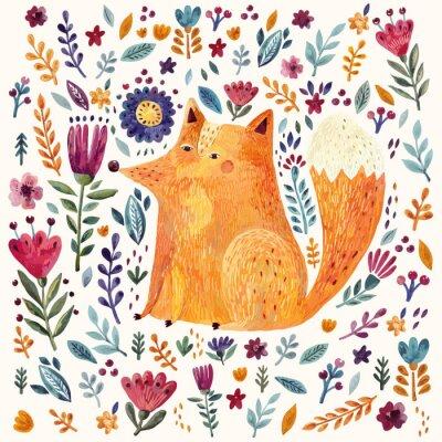 Tapeta Ilustracja cute lisa i kwiatowy wzór