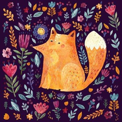 Tapeta Ilustracja cute lisa i kwiatowy wzór na ciemnym tle