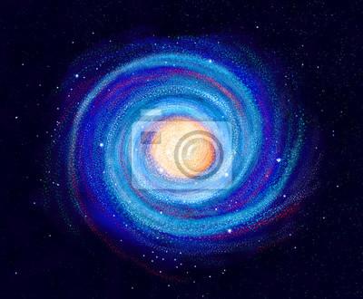 Ilustracja Galaktyka spiralna ręcznie rysowane gwiazd w przestrzeni, Droga mleczna
