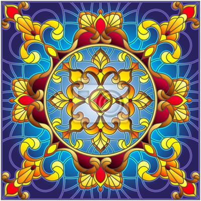 Ilustracja w stylu witra ?, kwadratowy obraz lustrzany z kwiatów ozdoby i swirls, kwadratowy obraz