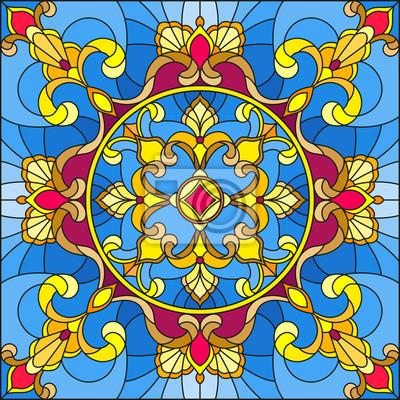 Ilustracja w stylu witra ?, kwadratowy obraz lustrzany z kwiatów ozdoby i wiry