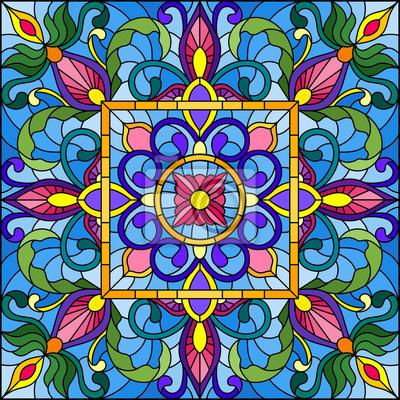 Ilustracja w stylu witrażu, kwadratowy obraz lustra z kwiatowymi ornamentami i wiruje