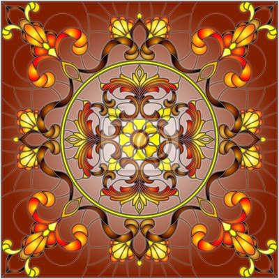 Ilustracja w stylu witrażu, kwadratowy obraz lustra z kwiatowymi ornamentami i wiruje na tle Burgundii