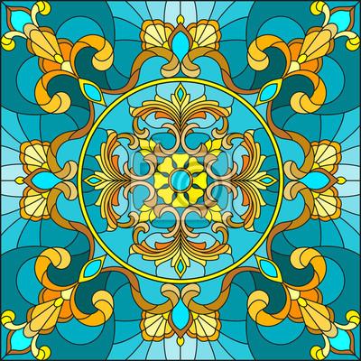 Ilustracja w stylu witrażu, kwadratowy obraz lustra z kwiatowymi ornamentami i wiruje na turkus tło
