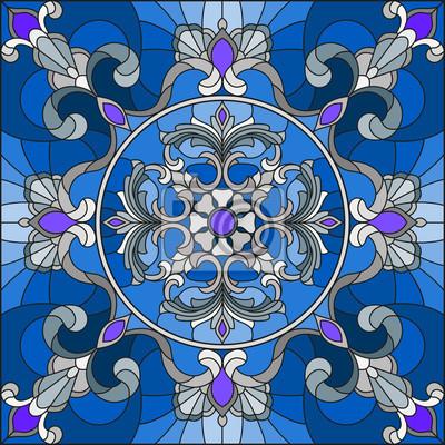 Ilustracja w stylu witrażu, kwadratowy obraz lustra ze srebrnymi ornamentami kwiatowy i wiruje na niebieskim tle