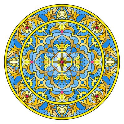 Ilustracja w stylu witrażu, okrągły obraz lustro z kwiatowymi ornamentami i wiruje