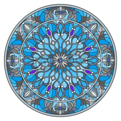Ilustracja w stylu witrażu, okrągły obraz lustro z kwiatowymi ornamentami i wiruje.