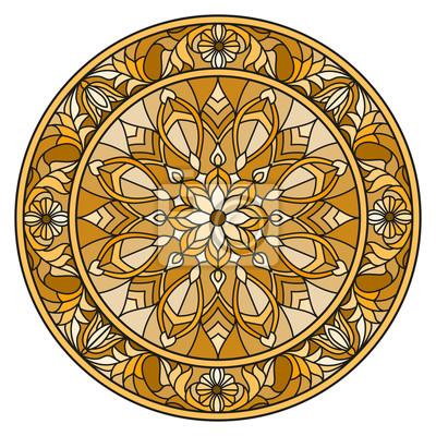 Ilustracja w stylu witrażu, okrągły obraz lustro z kwiatowymi ornamentami i wiruje, brązowy dźwięk, sepia