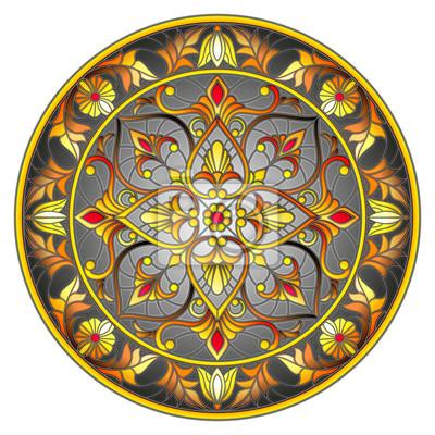 Ilustracja w stylu witrażu, okrągły obraz lustro z kwiatowymi ornamentami i wiruje na ciemnym tle