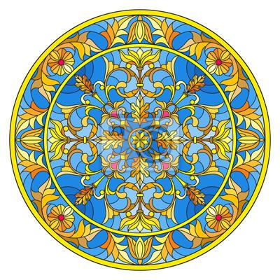 Ilustracja w stylu witrażu, okrągły obraz lustro z kwiatowymi ornamentami i wiruje na niebieskim tle