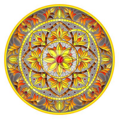 Ilustracja w stylu witrażu, okrągły obraz lustro z kwiatowymi ornamentami i wiruje na szarym tle