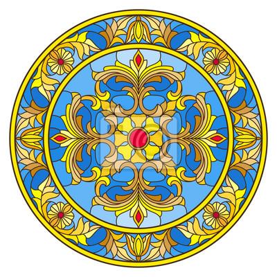 Ilustracja w stylu witraży, okrągły obraz lustrzany z kwiatu ozdoby i wiruje