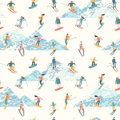 Tapeta Ilustracja wektorowa narciarzy i snowboardzistów. Bezszwowy wzór.